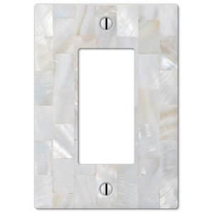 Amerelle Decorative Wallplates - Pearl Capiz - Single Rocker Wallplate in Mosaic Pearl