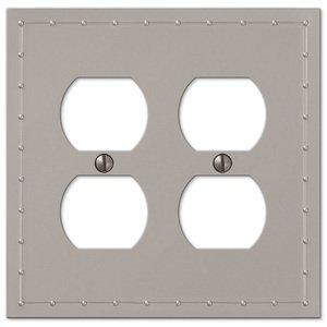 Amerelle Wallplates Double Duplex Wallplate in Satin Nickel