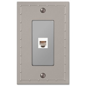 Amerelle Wallplates Single Phone Wallplate in Satin Nickel