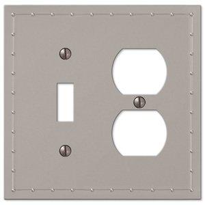 Amerelle Wallplates Single Toggle Single Duplex Combo Wallplate in Satin Nickel