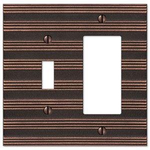 Amerelle Wallplates Single Toggle Single Rocker Combo Wallplate in Aged Bronze