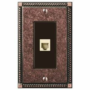 Amerelle Wallplates Single Phone Wallplate in Tumbled Aged Bronze