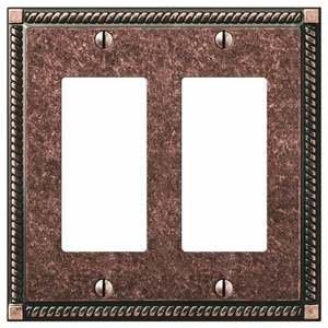 Amerelle Wallplates Double Rocker Wallplate in Tumbled Aged Bronze