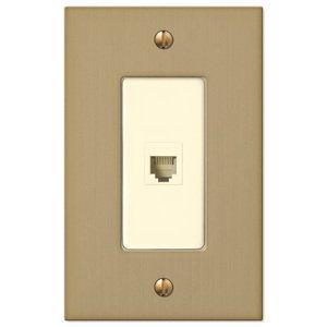 Amerelle Wallplates Single Phone Wallplate in Brushed Bronze