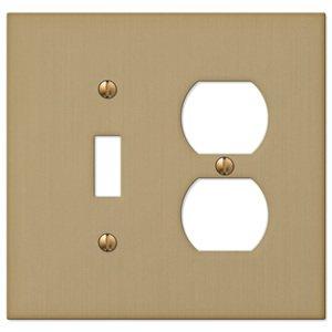 Amerelle Wallplates Single Toggle Single Duplex Combo Wallplate in Brushed Bronze
