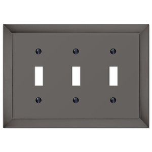 Amerelle Wallplates Triple Toggle Wallplate in Midnight Chrome