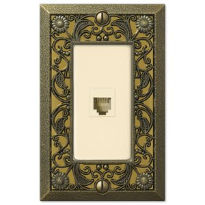 Amerelle Wallplates Single Phone Wallplate in Antique Brass