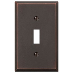Amerelle Wallplates Single Toggle Wallplate in Aged Bronze