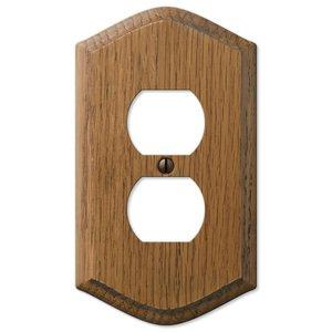 Amerelle Wallplates Wood Single Duplex Wallplate in Medium Oak