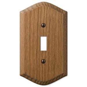 Amerelle Wallplates Wood Single Toggle Wallplate in Medium Oak