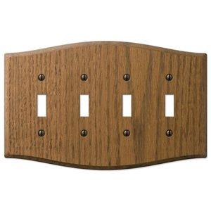 Amerelle Wallplates Wood Quadruple Toggle Wallplate in Medium Oak