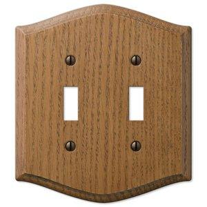 Amerelle Wallplates Wood Double Toggle Wallplate in Medium Oak