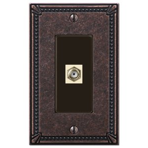 Amerelle Decorative Wallplates - Imperial Beaded - Single Cable Wallplate in Tumbled Aged Bronze
