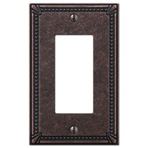 Amerelle Wallplates Single Rocker Wallplate in Tumbled Aged Bronze