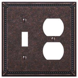 Amerelle Wallplates Single Toggle Single Duplex Combo Wallplate in Tumbled Aged Bronze