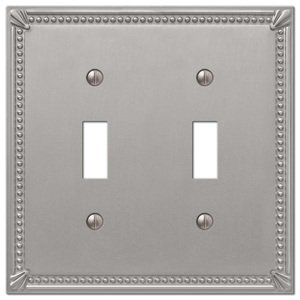 Amerelle Wallplates Double Toggle Wallplate in Brushed Nickel