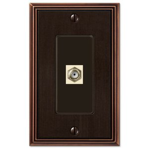 Amerelle Decorative Wallplates - Metro Line - Single Cable Wallplate in Aged Bronze