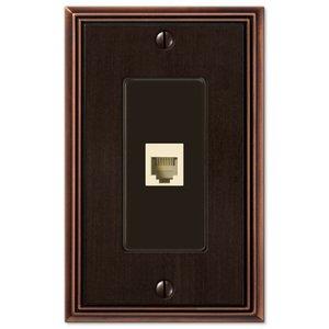 Amerelle Wallplates Single Phone Wallplate in Aged Bronze