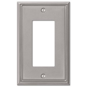 Amerelle Wallplates Single Rocker Wallplate in Brushed Nickel