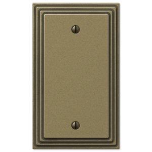 Amerelle Wallplates Single Blank Wallplate in Rustic Brass