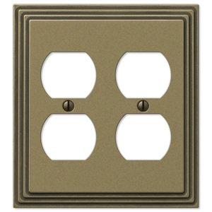 Amerelle Wallplates Double Duplex Wallplate in Rustic Brass