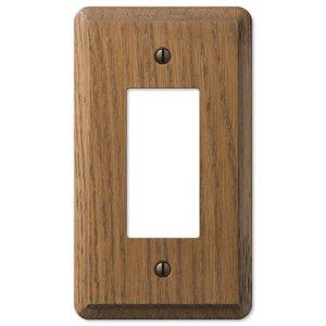 Amerelle Wallplates Wood Single Rocker Wallplate in Medium Oak
