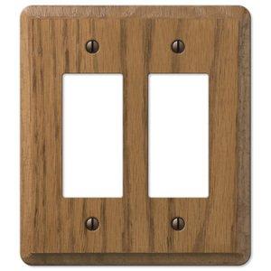 Amerelle Wallplates Wood Double Rocker Wallplate in Medium Oak