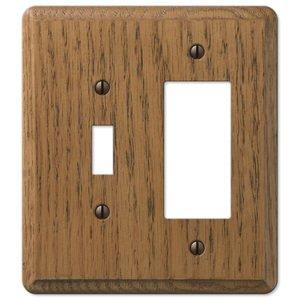 Amerelle Wallplates Wood Single Toggle Single Rocker Combo Wallplate in Medium Oak