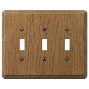 Amerelle Wallplates Wood Triple Toggle Wallplate in Medium Oak