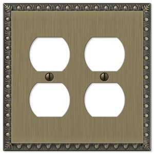 Amerelle Wallplates Double Duplex Wallplate in Brushed Brass