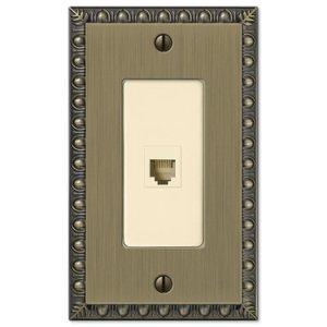 Amerelle Wallplates Single Phone Wallplate in Brushed Brass