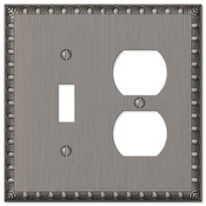 Amerelle Wallplates Single Toggle Single Duplex Combo Wallplate in Antique Nickel