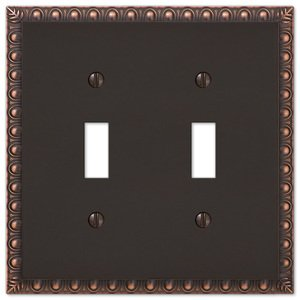 Amerelle Wallplates Double Toggle Wallplate in Aged Bronze