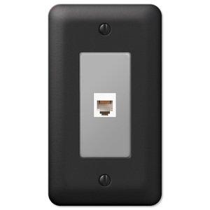Amerelle Wallplates Single Phone Wallplate in Black