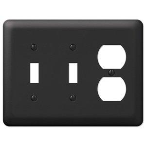 Amerelle Wallplates Double Toggle Single Duplex Combo Wallplate in Black