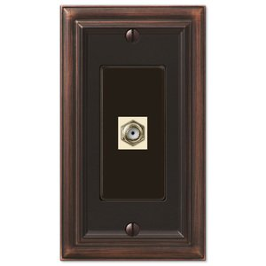 Amerelle Decorative Wallplates - Continental - Single Cable Wallplate in Aged Bronze