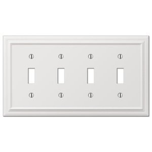 Amerelle Wallplates Quadruple Toggle Wallplate in White