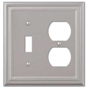 Amerelle Decorative Wallplates - Continental - Single Toggle Single Duplex Combo Wallplate in Satin Nickel