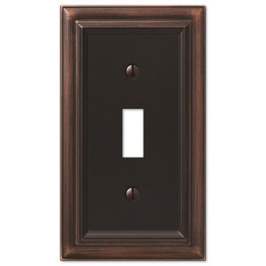 Amerelle Decorative Wallplates - Continental - Single Toggle Wallplate in Aged Bronze