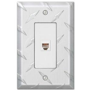 Amerelle Wallplates Single Phone Wallplate in Aluminum