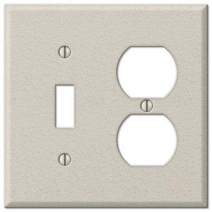Amerelle Wallplates Single Toggle Single Duplex Combo Wallplate in Almond Wrinkle