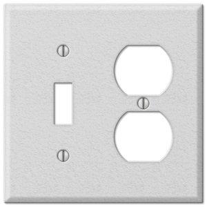 Amerelle Wallplates Single Toggle Single Duplex Combo Wallplate in White Wrinkle