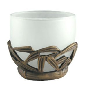 Anne at Home Bathroom Accessory Bamboo Votive in Weathered White