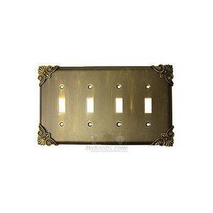 Anne at Home Corinthia Switchplate Quadruple Toggle Switchplate in Pewter Matte