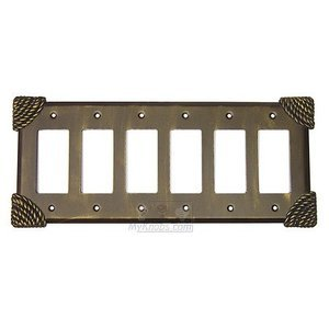Anne at Home Roguery Switchplate Six Gang Rocker/GFI Switchplate in Gold