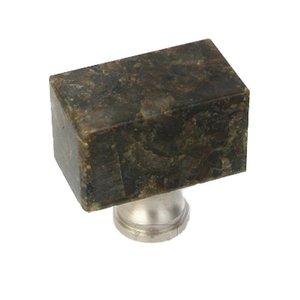 "Home Adorned 1 3/8"" x 3/4"" Rectangular Knob in Uba Tuba Granite"