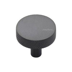 """Ashley Norton Hardware 1 1/4"""" Knurled Disc Knob in Dark Oil Rubbed"""