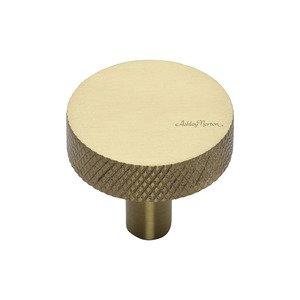 "Ashley Norton Hardware 1 1/4"" Knurled Disc Knob in Satin Brass"