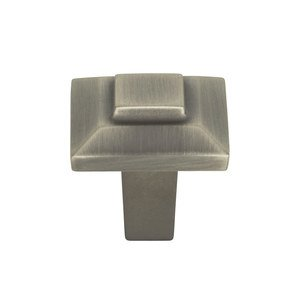 "Atlas Homewares 1"" Small Square Knob in Pewter"
