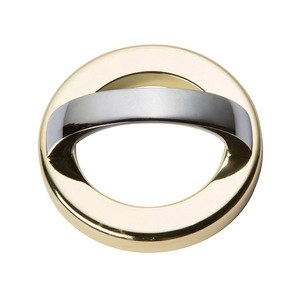 """Atlas Homewares 1 7/8"""" Centers Round Base In French Gold With Curved Handle In Polished Chrome"""